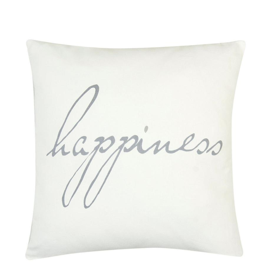 Federa arredo con scritta Happiness, 100% cotone, tessuto panama, Grigio, crema, Larg. 40 x Lung. 40 cm