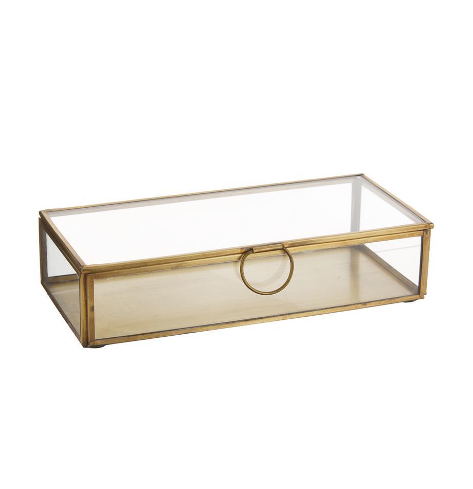 Opbergdoos Janni, Messing, glas, Messingkleurig, B 22 x D 10 cm