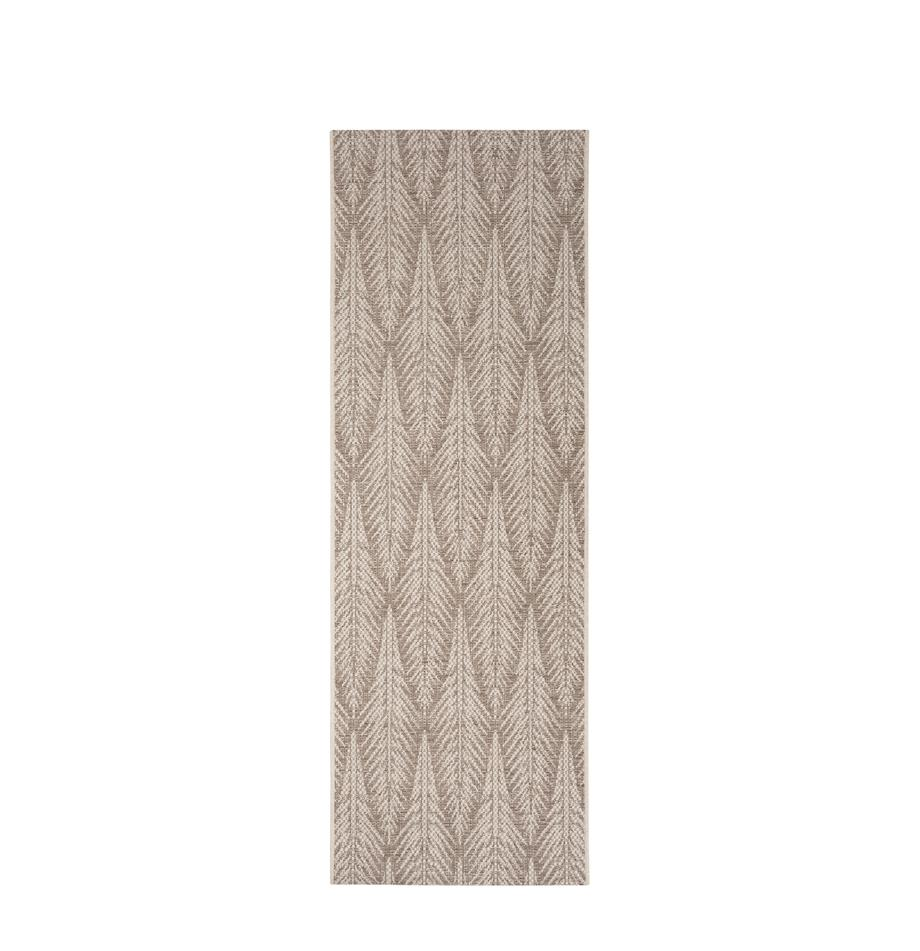 Design in- &  outdoor loper Pella met grafisch patroon, 100% polypropyleen, Taupe, beige, 70 x 200 cm