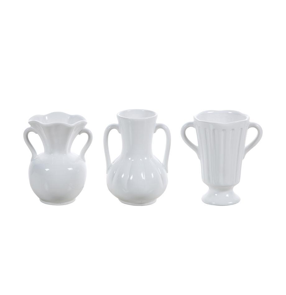Set 3 vasi in ceramica Mico, Ceramica, Bianco, Larg. 10 x Alt. 12 cm