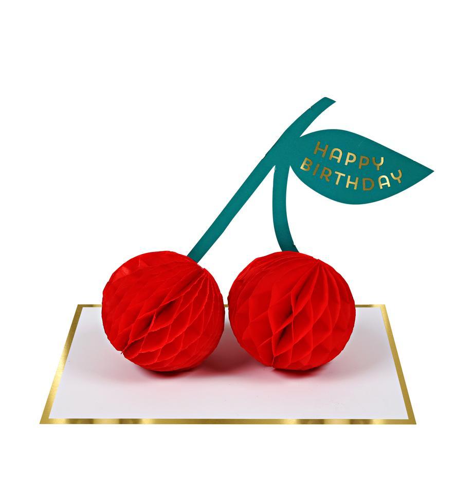 Geburtstagskarte Cherries, Papier, Weiss, Goldfarben, Rot, Grün, 19 x 13 cm