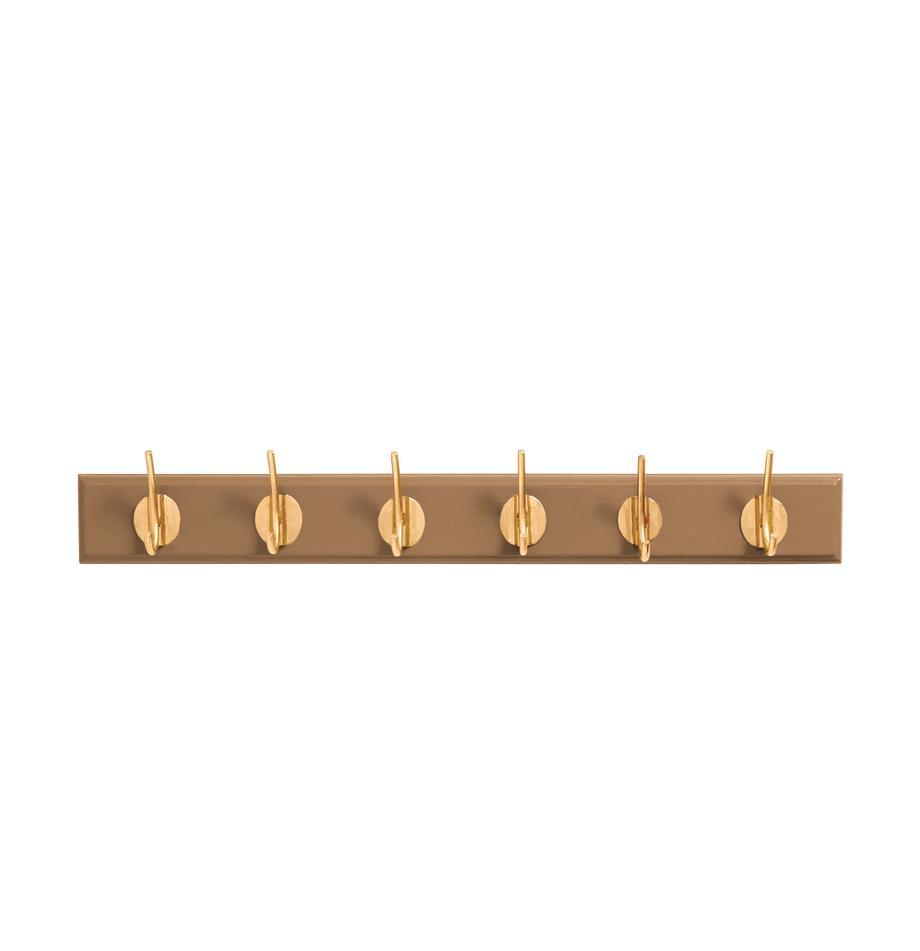Perchero de pared Aoife, Barra: tablero de fibras de dens, Marrón camel, An 60 x Al 7 cm