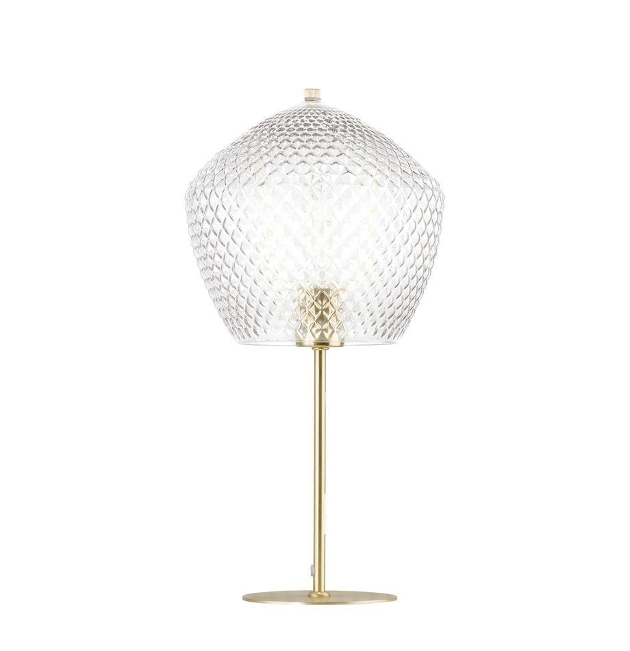 Tafellamp Beatrice met glazen lampenkap, Lampenkap: glas, Lampvoet: gecoat metaal, Goudkleurig, transparant, Ø 23 cm