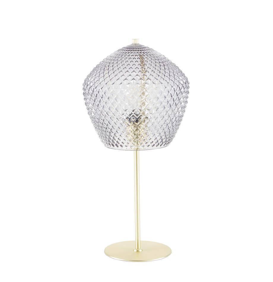 Tischlampe Orbiform mit Glasschirm, Lampenschirm: Glas, Gold, Transparent, Ø 23 x H 47 cm