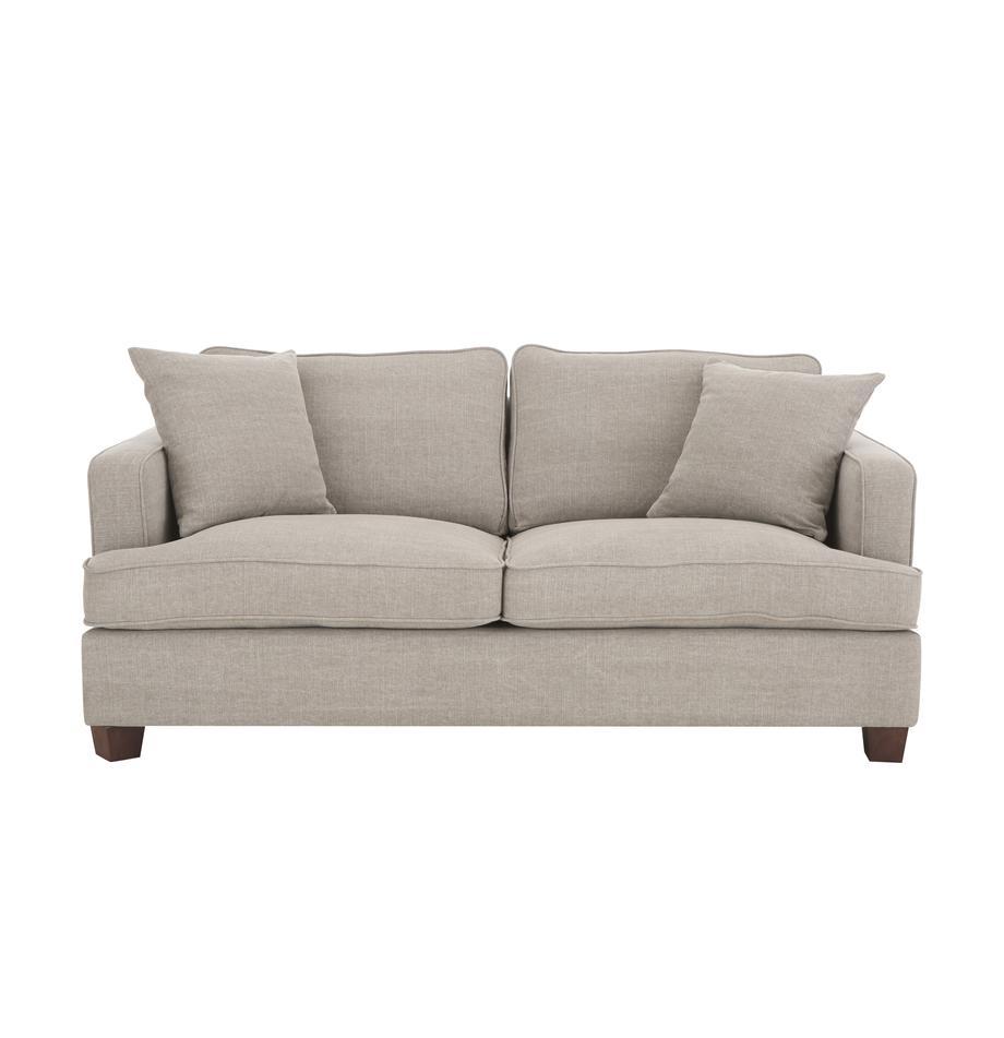 Duża sofa Warren (2-osobowa), Tapicerka: 60%bawełna, 40%len Tkan, Nogi: czarne drewno, Piaskowoszary, S 178 x W 85 cm
