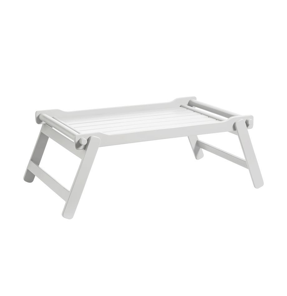 Klappbares Holz-Serviertablett Bed, B 36 x L 50 cm, Mahagoniholz, Polyurethan lackiert, Weiß , 36 x 50 cm