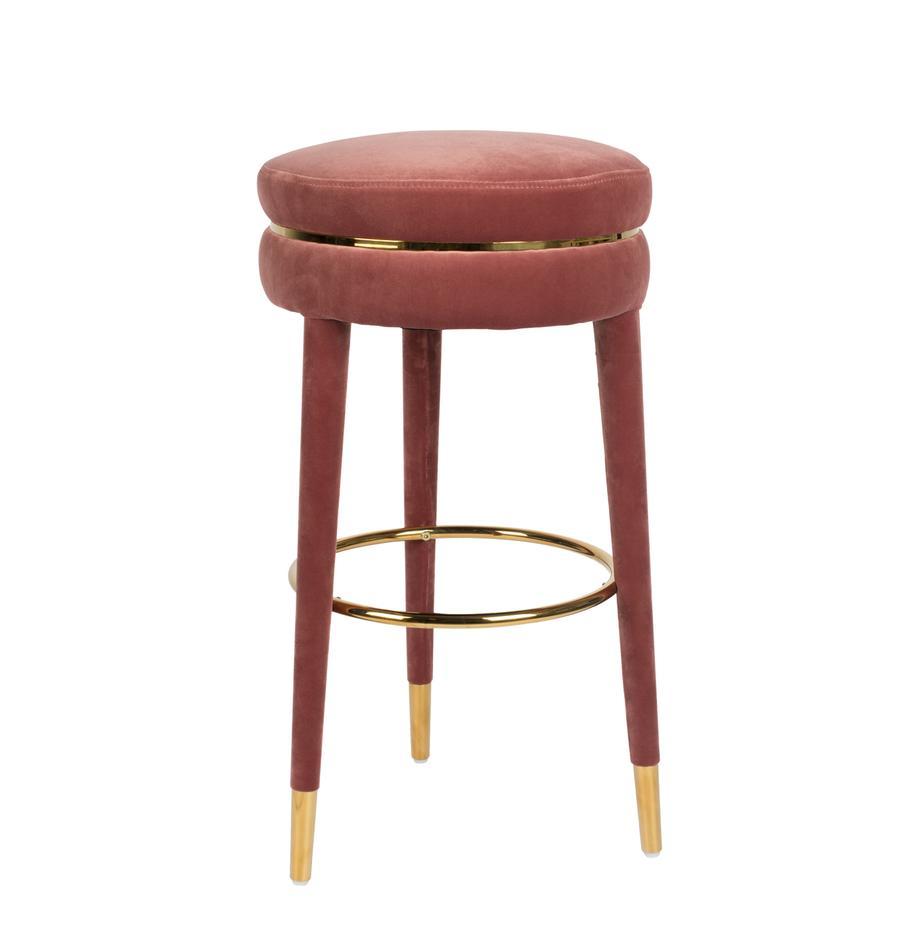 Samt-Barhocker I Am Not A Macaron, Bezug: Polyestersamt 30.000 Sche, Gestell: Gummibaumholz mit Samtübe, Pink, Ø 41 x H 78 cm
