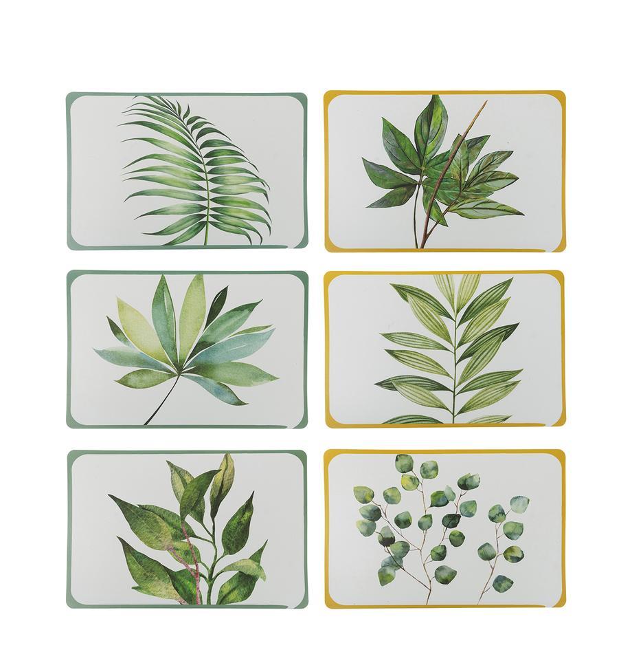 Tischsets Botanique, 6er Set, Kunststoff, Weiss, Grün, Gelb, B 45 x T 30 cm