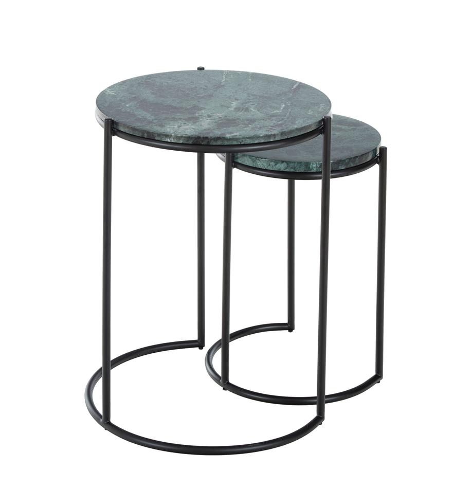 Marmeren bijzettafelset Ella, 2-delig, Frame: gepoedercoat metaal, Tafelbladen: groene marmer. Frame: mat zwart, Set met verschillende formaten