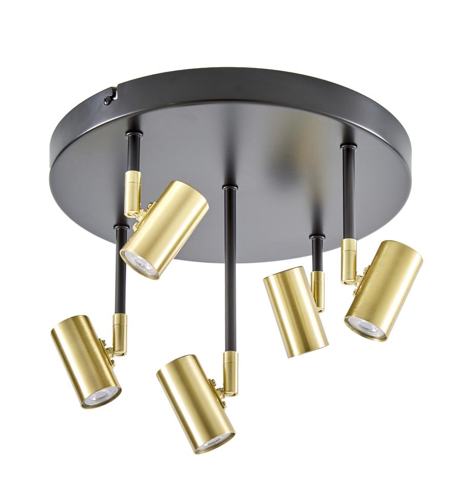 Plafoniera a LED Tony, Baldacchino: metallo verniciato a polv, Baldacchino: nero opaco Prese: ottonato, Ø 30 x Alt. 26 cm