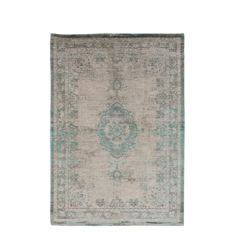 Vintage chenille vloerkleed Medaillon, Bovenzijde: chenille (katoen), Weeftechniek: jacquard, Onderzijde: chenille, gecoat met late, Groen, roze, B 230 x L 330 cm (maat L)