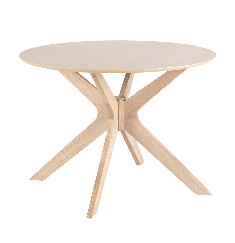 Runder Esstisch Duncan aus Holz, Tischplatte: Mitteldichte Holzfaserpla, Beine: Eichenholz, massiv, Eichenholz, Ø 105 x H 75 cm