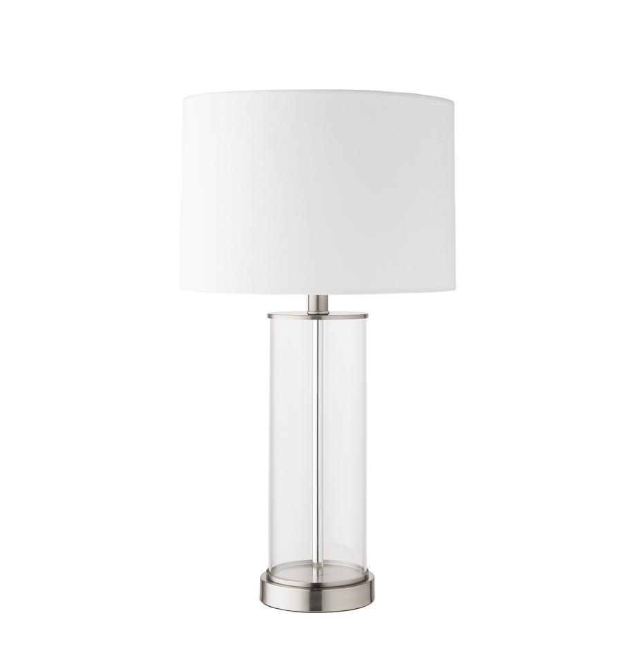 Lámpara de mesa de vidrio y lino Abigail, Pantalla: lino, Cable: plastico, Níquel, Ø 32 x Al 61 cm