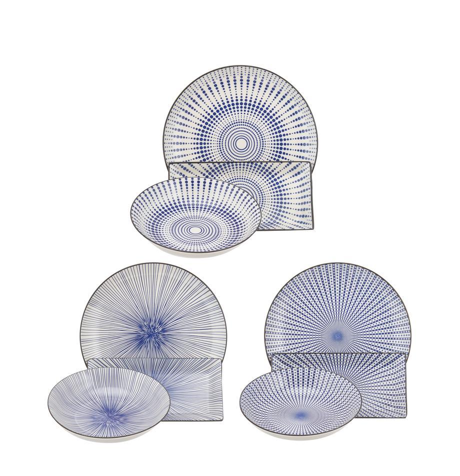 Vajilla Skiathos, 6comensales (18pzas.), Gres, Azul, blanco crudo, Set de diferentes tamaños