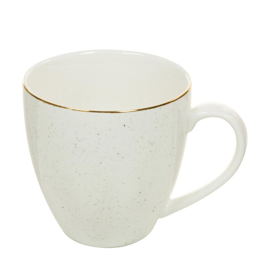 Handgemaakte koffiemokken Bella, 2 stuks, Porselein, Crèmewit, Ø 9 x H 9 cm