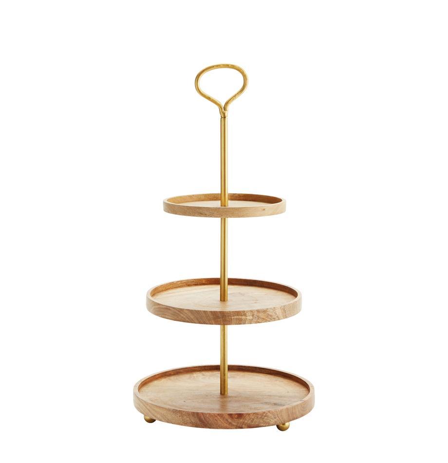 Fuente 3 pisos de madera Alina, Bandejas: madera de mango, Estructura: metal recubierto, Dorado, madera de mango, Ø 30 cm