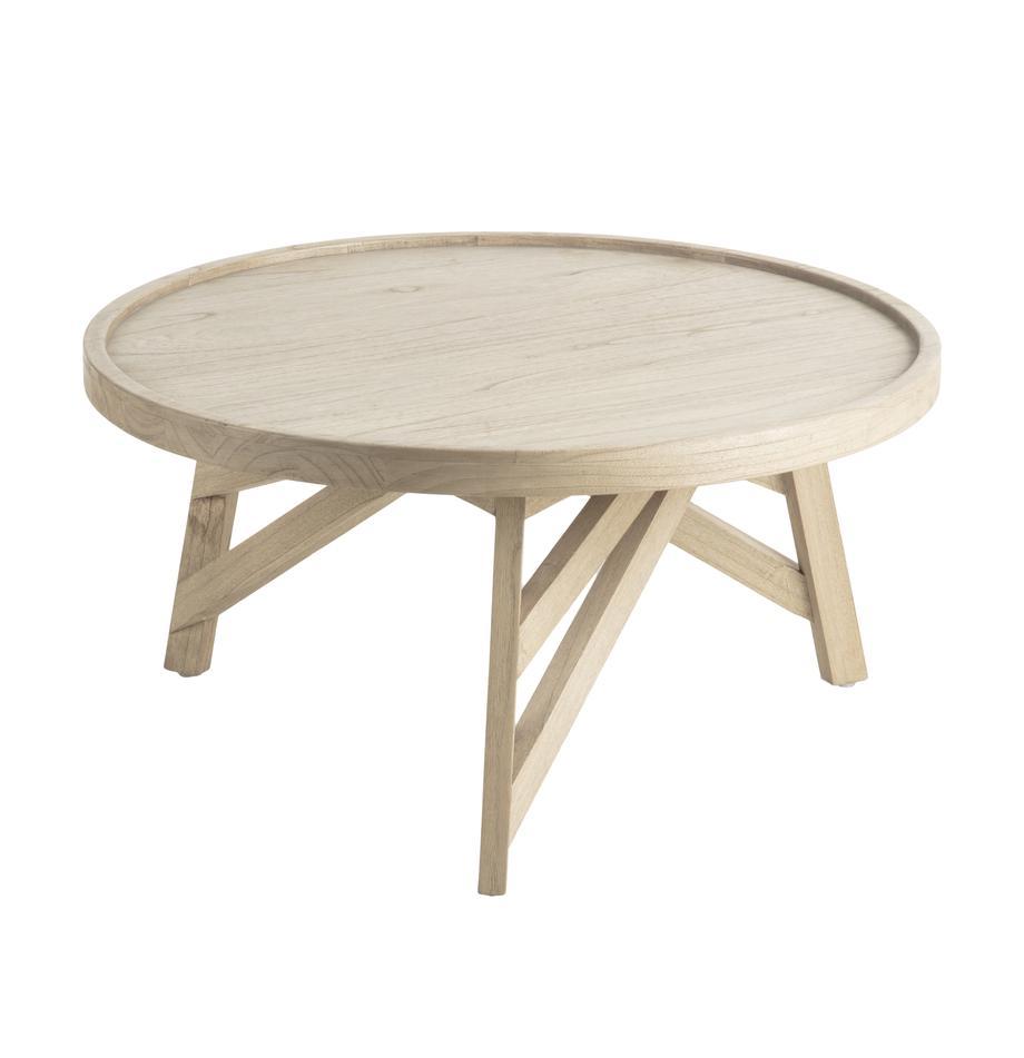 Tavolino da salotto in legno Tenda, Legno Mindi, Beige, Ø 81 x Alt. 81 cm
