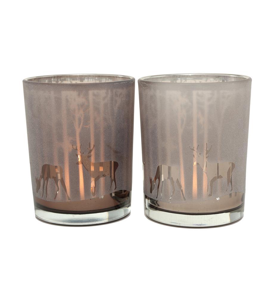 Komplet świeczników Colorado, 2 elem., Szkło lakierowane, Ciemny beżowy, taupe, Ø 10 x W 12 cm