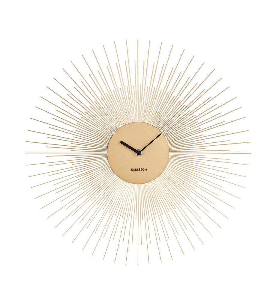 Reloj de pared Peony, Metal, recubierto, Latón, negro, Ø 45 cm
