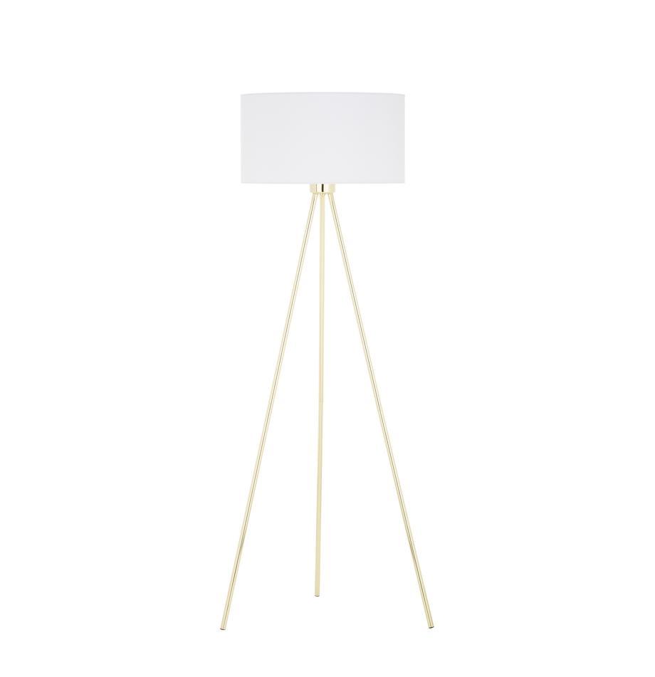 Lampa podłogowa Cella, Podstawa lampy: odcienie złotego, błyszczący Klosz: biały, Ø 48 x W 158 cm