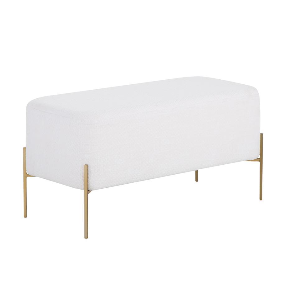 Bouclé-Polsterbank Harper, Bezug: Baumwolle, Fuß: Metall, pulverbeschichtet, Creme, Goldfarben, 90 x 44 cm