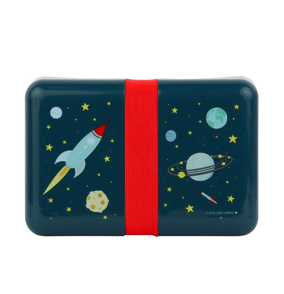 Lunch box Space, Materiale sintetico, Blu, rosso, Larg. 12 x Alt. 6 cm