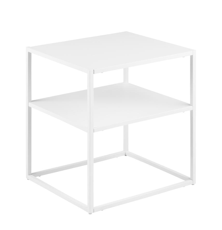 Metall-Beistelltisch Newton in Weiß, Metall, pulverbeschichtet, Weiß, B 45 x T 40 cm