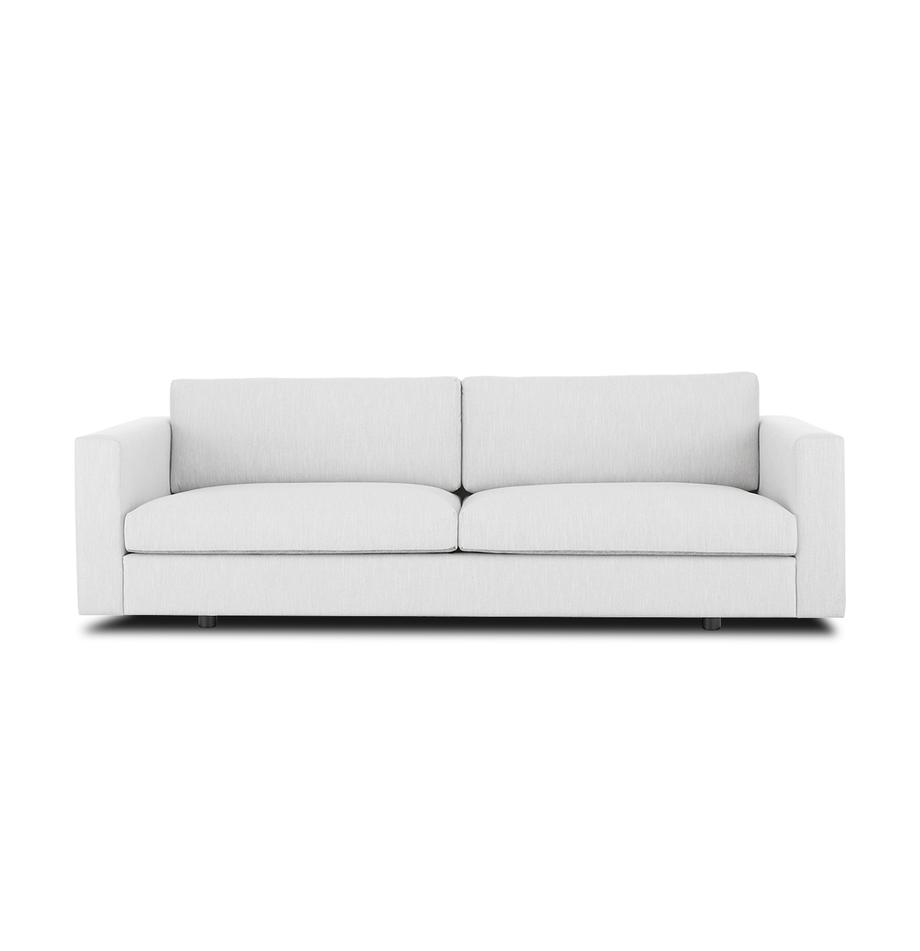 Sofa Balmira (3-Sitzer) in Hellgrau, Bezug: Polyester 35.000 Scheuert, Gestell: Massives Kiefernholz, Füße: Massives Birkenholz, lack, Webstoff Hellgrau, B 240 x T 96 cm