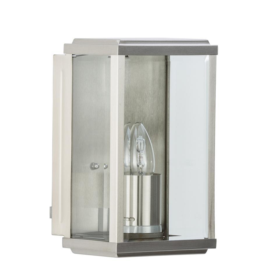 Aussenwandleuchte Wally im Industrial-Style, Edelstahl, poliert mit Glas-Einsatz, Edelstahl , 16 x 25 cm