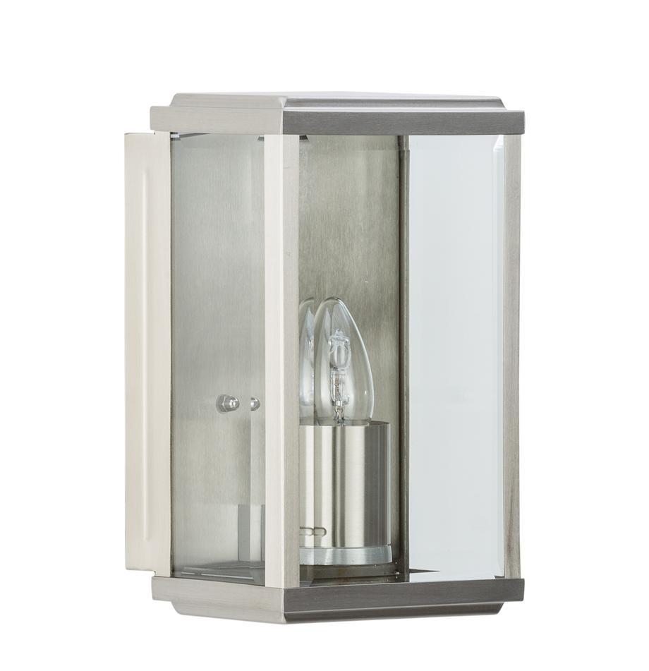Applique da esterno con paralume in vetro Wally, Struttura: acciaio inossidabile luci, Paralume: vetro, Acciaio inossidabile, Larg. 16 x Alt. 25 cm