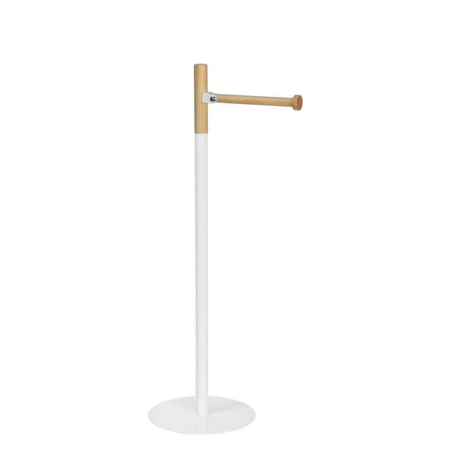 Stojak na papier toaletowy Balham, Metal, drewno kauczukowe, lakierowany, Biały, drewno kauczukowe, Ø 17 x W 55 cm