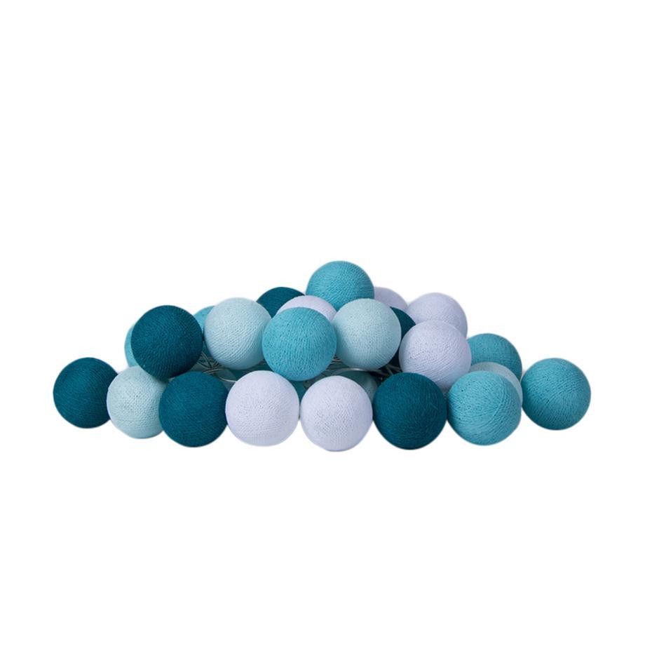 LED-Lichterkette Colorain, 378 cm, 20 Lampions, Weiß, Blautöne, L 378 cm