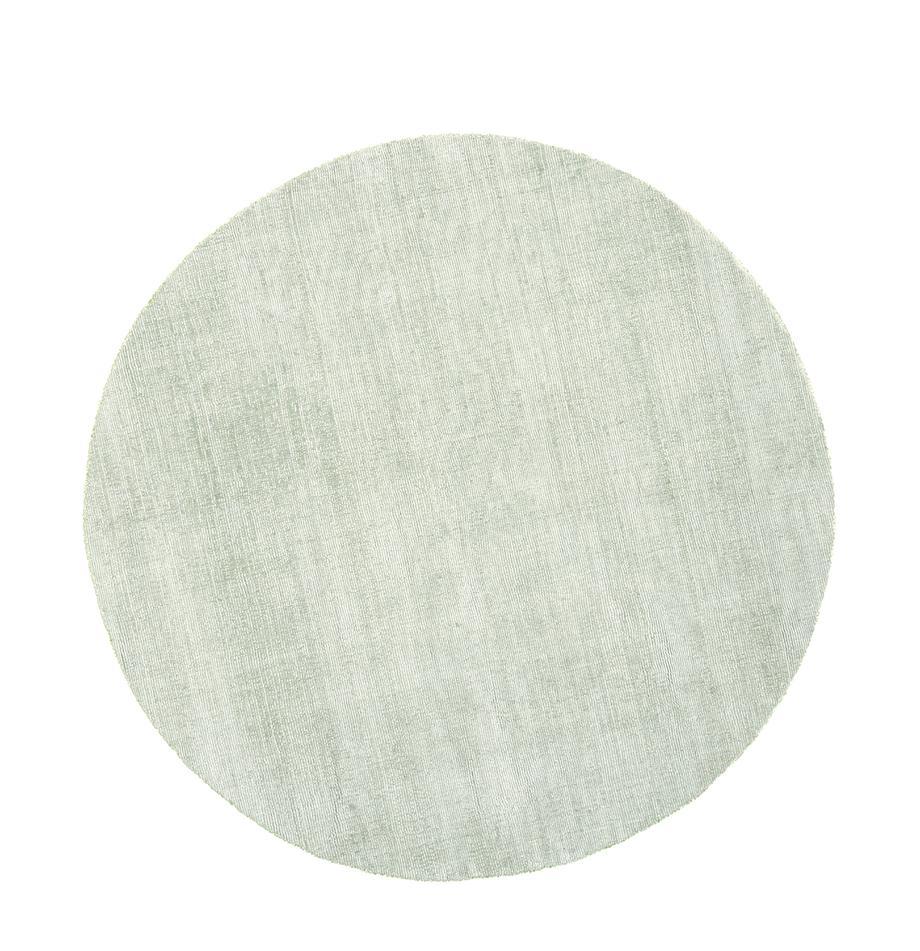 Alfombra redonda artesanal de viscosa Jane, Parte superior: 100%viscosa, Reverso: 100%algodón, Verde claro, Ø 120 cm (Tamaño S)