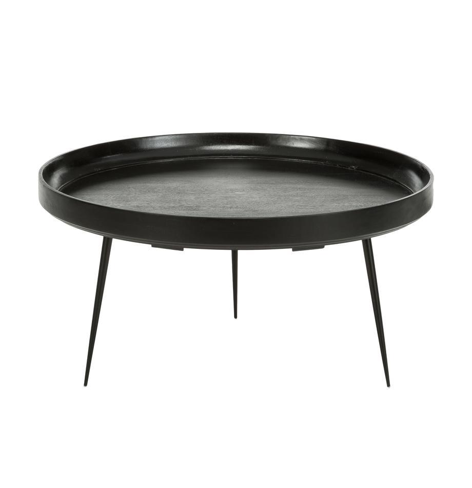 Design-Couchtisch Bowl Table aus Mangoholz, Tischplatte: Mangoholz, gebeizt, Beine: Stahl, pulverbeschichtet, Schwarz, Ø 75 x H 38 cm