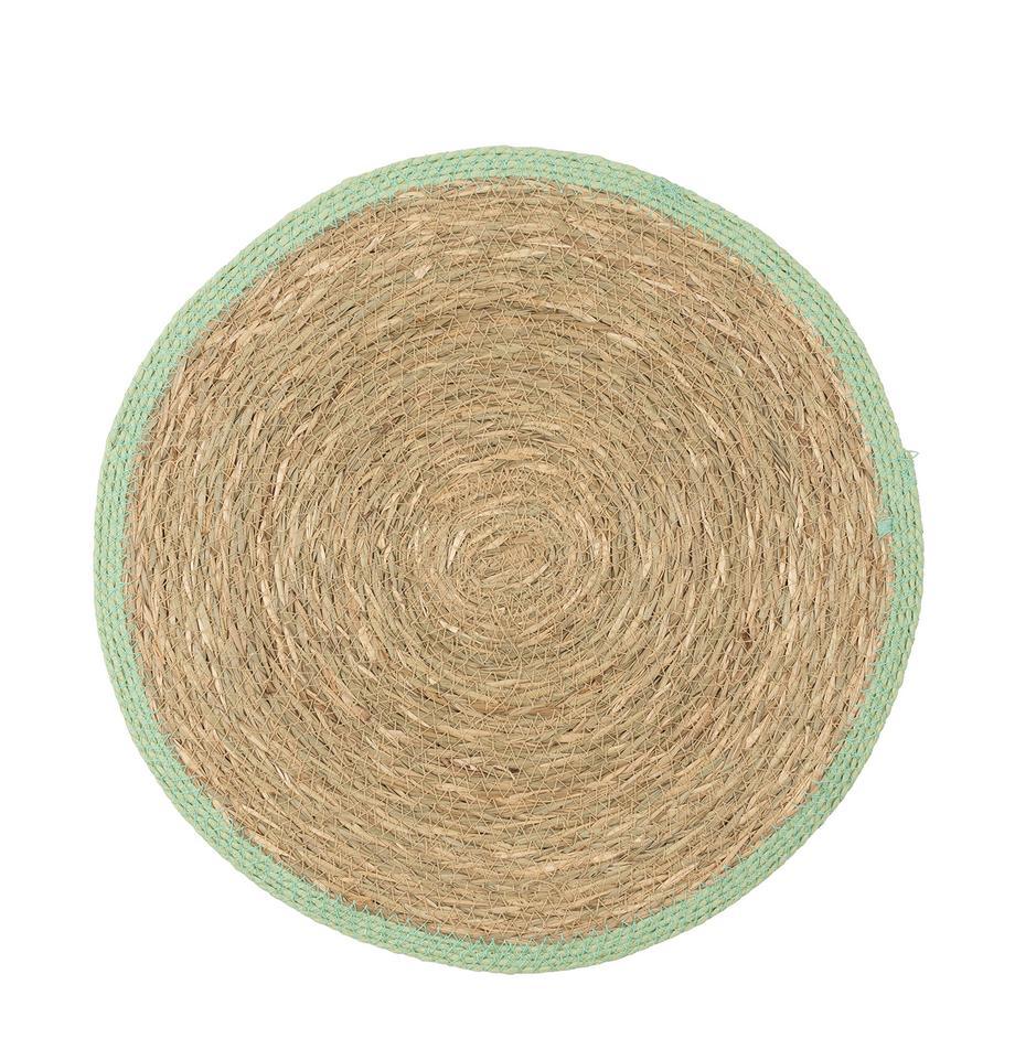 Runde Seegras-Tischsets Boho mit grünem Rand, 2 Stück, Seegras, Beige, Grün, Ø 35 cm
