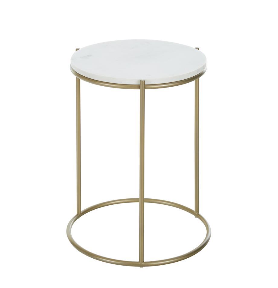 Runder Marmor-Beistelltisch Ella, Tischplatte: Marmor, Gestell: Metall, pulverbeschichtet, Tischplatte: Weisser MarmorGestell: Goldfarben, matt, Ø 40 x H 50 cm