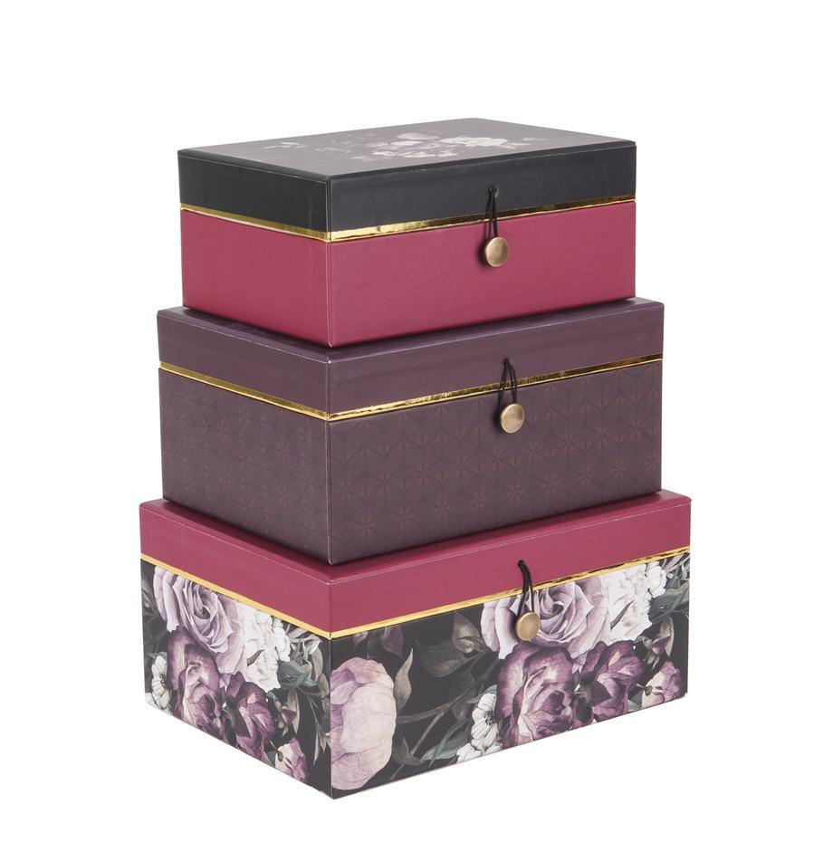 Komplet pudełek prezentowych Flowers, 3 elem., Papier, Lila, różowy, Komplet z różnymi rozmiarami