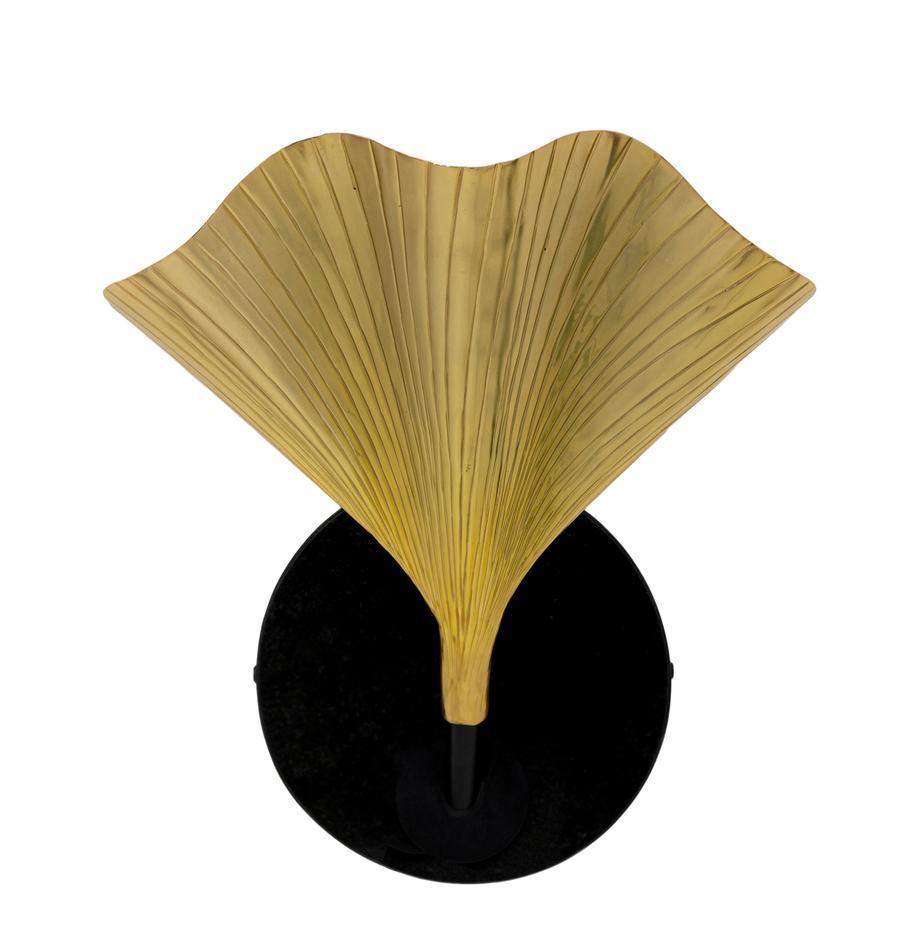 Kinkiet z marmurowym mocowaniem Ginkgo, Odcienie mosiężnego, antyczne wykończenie, czarny, matowy, S 30 x W 33 cm