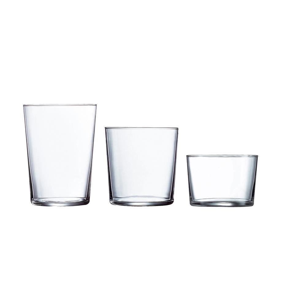 Set de vasos Juego, 18pzas., vidrio de sílice, Transparente, Set de diferentes tamaños