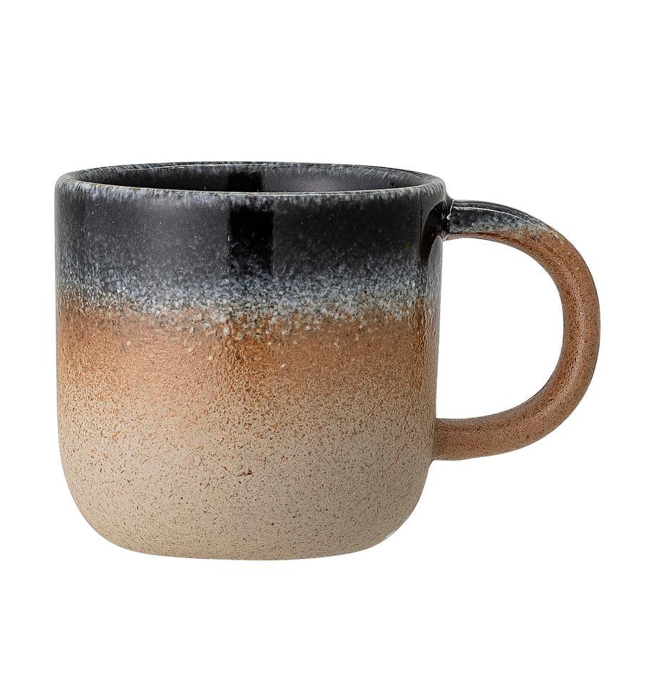 Handgemachte Tasse Aura mit Farbverlauf, Porzellan, Beige- und Blautöne, Ø 8 x H 8 cm