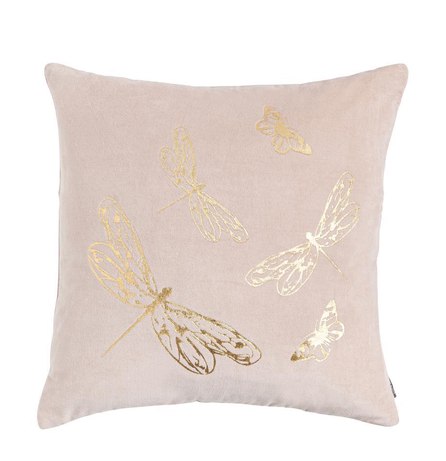 Cojín de terciopelo Butterfly, con relleno, 100%algodón, Rosa, An 45 x L 45