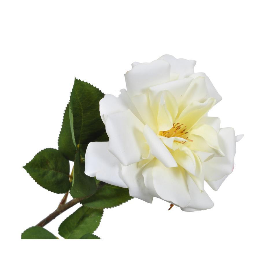 Kunstblume Rose Alina, Blüte: Kunststoff, Stiel: Metall, Weiß, Gelb, L 54 cm