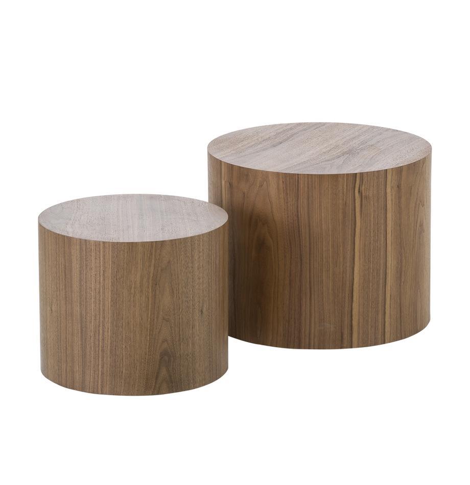 Tisch-Set Dan aus Holz, Mitteldichte Holzfaserplatte (MDF) mit Walnussholzfurnier, Dunkelbraun, Sondergrößen