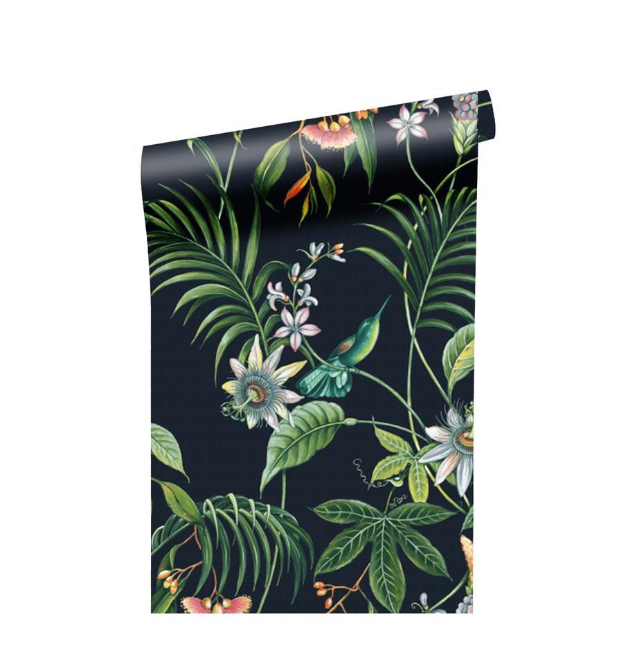Tapete Tropical Leaves, Vlies, Schwarz, Mehrfarbig, 52 x 1005 cm
