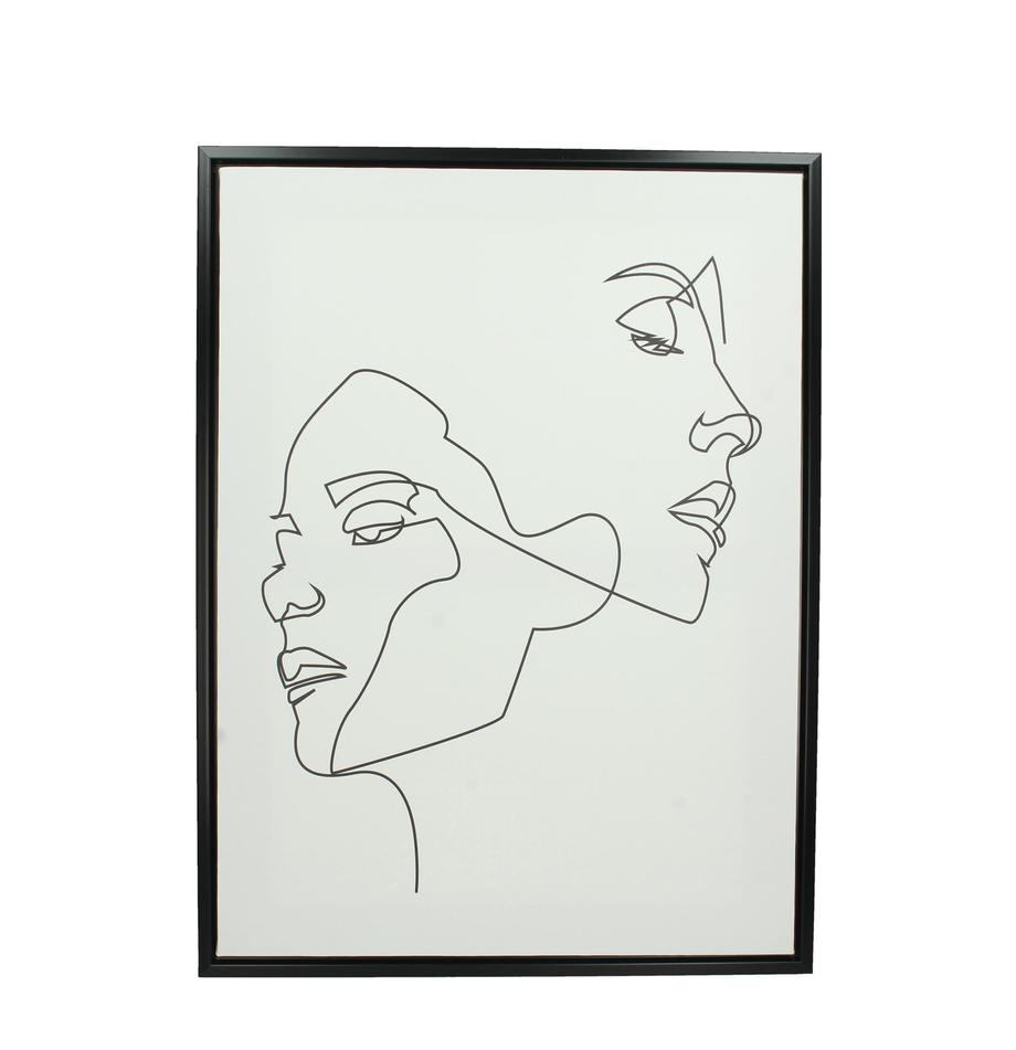 Stampa su tela incorniciata Opal, Cornice: materiale sintetico, Immagine: stampa digitale su lino, Bianco, nero, Larg. 45 x Alt. 60 cm