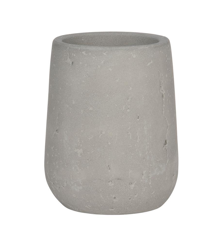 Vaso cepillo de dientes Belmont, Gris cemento, Tejido gris, Ø 8 x Al 10 cm
