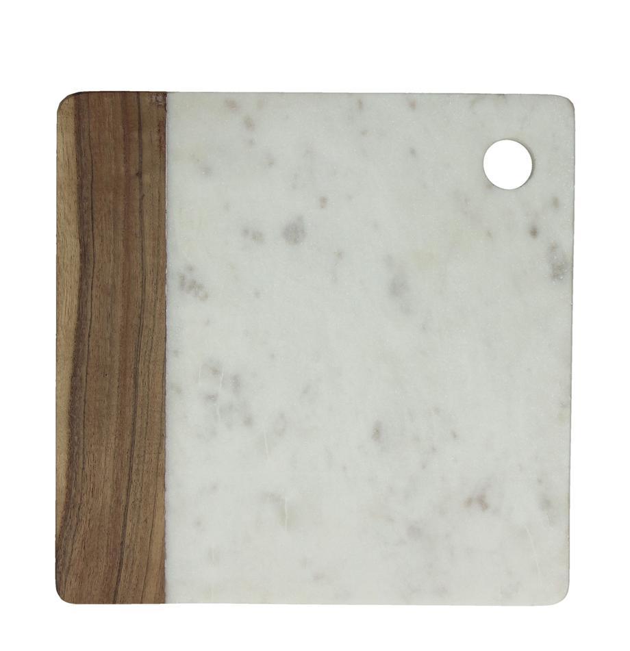 Tagliere in marmo Idli, Marmo, legno di acacia, Bianco marmorizzato, legno di acacia, Larg. 25 x Prof. 25 cm