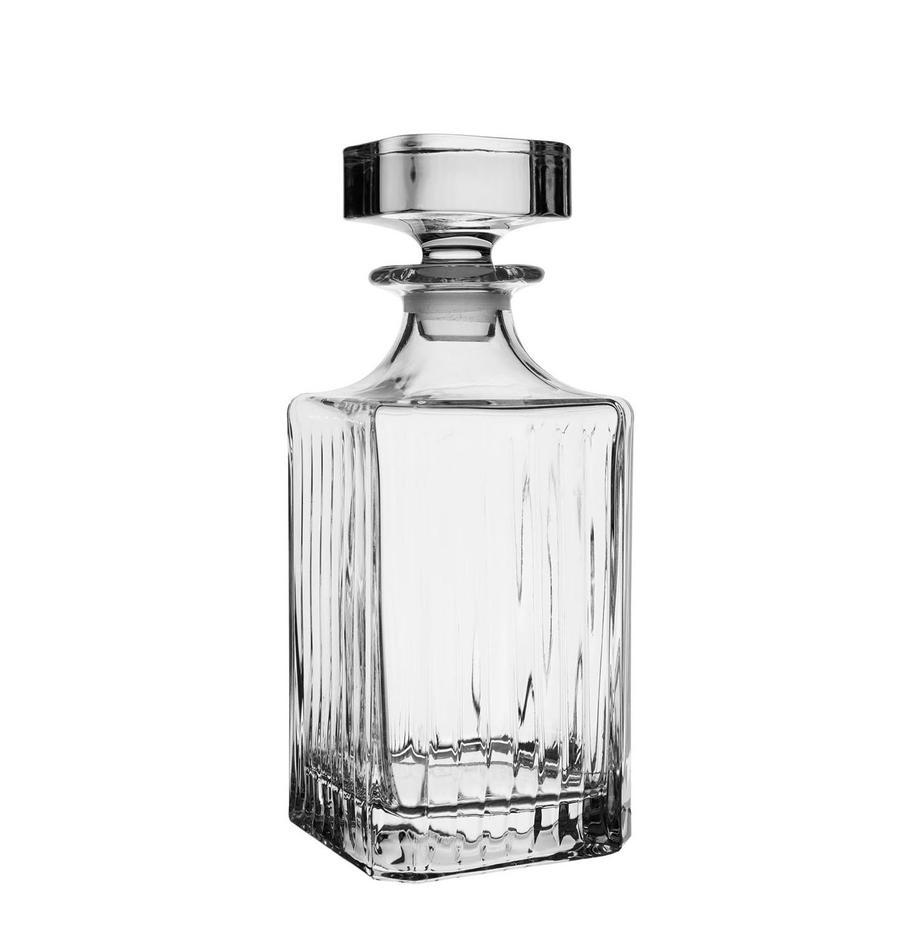 Kristall-Dekanter Timeless mit Rillenrelief, 750 ml, Kristallglas, Transparent, H 24 cm
