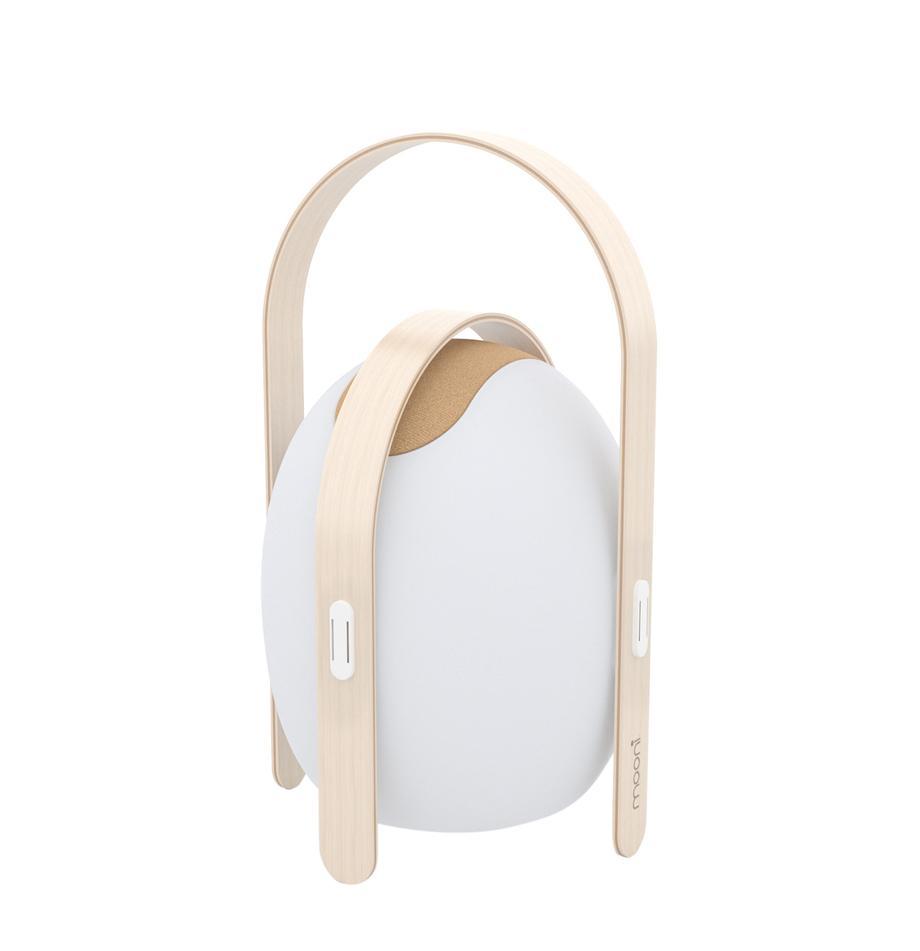 Mobile LED-Außenleuchte mit Lautsprecher Ovo, Lampenschirm: Kunststoff (LDPE), Gestell: Ulmenholz mit Birkenfurni, Weiß, Hellbraun, Ø 32 x H 50 cm