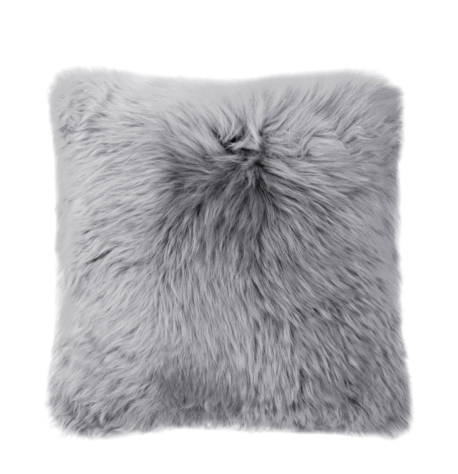 Poszewka na poduszkę ze skóry owczej Oslo, Przód: jasny szary Tył: jasny szary, S 40 x D 40 cm